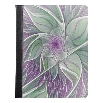 Flower Dream, Abstract Purple Green Fractal Art iPad Case