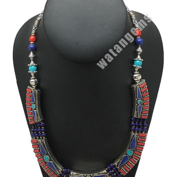 Ethnic Tribal Lapis,Red Coral & Green Turquoise Inlay Statement Necklace, NPL145