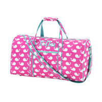 Beautiful Pink and White with Mint Leather Like Trim Duffel Bag-Available Blank or Personalized!