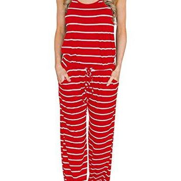 MIHOLL Women's Summer Striped Jumpsuit Casual Loose Sleeveless Jumpsuit Rompers