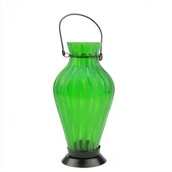 "9.5"" Frosted Green Ribbed Vase Glass Bottle Tea Light Candle Lantern Decoration"