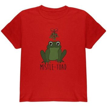CREYCY8 Christmas Mistletoe Toad Funny Pun Youth T Shirt