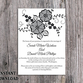 DIY Lace Wedding Invitation Template Editable Word File Download Printable Rustic Wedding Invitation Vintage Floral Black & White Invitation