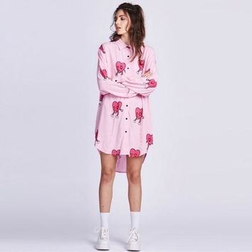 Women Blouse 2017 Lazy Oaf Style Heart Print Plus Size Shirt for Girl Fashion Cute Chiffon Casual Long Sleeve Oversized Top Pink
