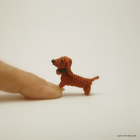 0.6 inch crochet brown Dachshund dog - tiny amigurumi animals