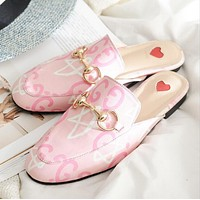 GUCCI Trending Women Tiger Head Embroidery Pink Letter Print Casual Cute Slippers Sandals Shoes