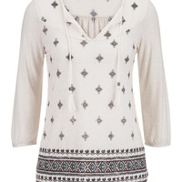 Chiffon Neck Patterned Peasant Top - Multi