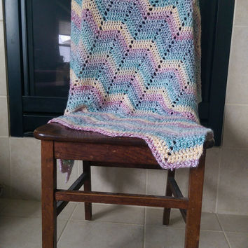 "Crochet Bold Chevron baby blanket in Red, Orange/ Yellow, Green, and Blue 30"" X 34"" gender-neutral / unisex"