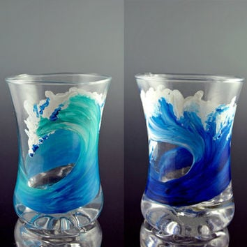 Personalized Shot Glasses, Shot Glasses, Wave, Beach, Surf, Surfing, Surfboard, Hawaii, SoCal, Cocktail, Surf Art, Unique Glass, Two Glasses