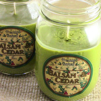 Balsam & Cedar Soy Candle (Woodsy w/ Cinnamon) Vegan, Phthalate Free, Eco Friendly, Recycled Labels, Handmade Christmas or Holiday Gift Idea