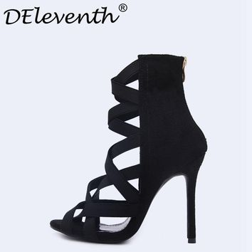 Fashion Women's Shoes Peep Toe Cross Cut-outs Stiletto Heels High Heels Sandals Shoes Female Party Shoes Zapatos De Mujer Black