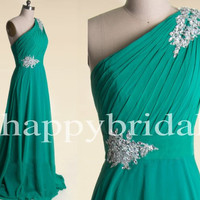 Elegant Long Green One Shoulder Prom Dresses Beaded Party Dresses Bridesmaid Dresses Homecoming Dresses