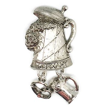 """Germany"" Metal Hat Pin with German Beer Stein & Charms"