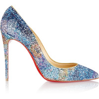 Christian Louboutin - Pigalle Follies 100 glitter-finished leather pumps