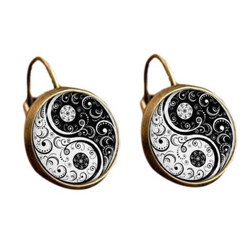 Classical pattern Chi Yin Yang Clip Earring Chinese Taoism Eight Diagrams Jewelry