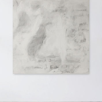 Modern White Painting with Text, Large Abstract, 36 x 36
