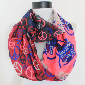 peace pink scarf,infinity scarf, scarf, scarves, long scarf, loop scarf, gift