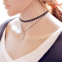 Ladies Simple Design Korean Lace forever21 choker Chain Cross Rack Double-layered Pendant [7786528391]