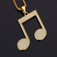 Iced Out Music Note Necklace
