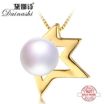 Dainashi irregular and angel shape gold color real natural pearl pendants top brand trendy fine jewelry for mother gifts