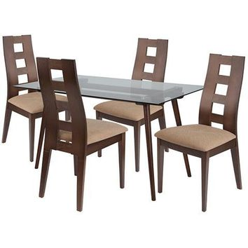 Hanford 5 Piece Walnut Wood Dining Table Set with Glass Top and Window Pane Back Wood Dining Chairs - Padded Seats