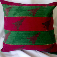 Christmas Pillow Cover Red and Green Trees Upcycled 14 Inch Square 14 X 14