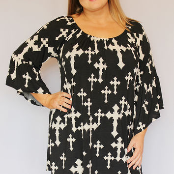Black and Cream Cross Print Tunic Top with Bell Sleeves ~ Sizes 12-18