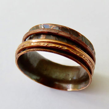 Fidget Spinner Ring in Copper - Copper Wedding Ring - Copper Spinner Ring - Eternity Ring