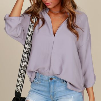 Intimidated Chic Henley Blouse Lavender