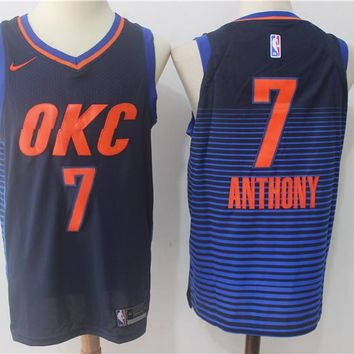 Best Deal Online NBA Authentic Basketball Player Jerseys Oklahoma City Thunder # 7 Carmelo Anthony Navy