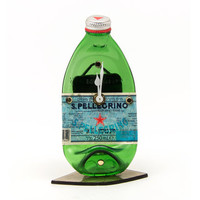 S.Pellegrino table  bottle clock - recycled table bottle clock - melted green bottle clock - Gift for men