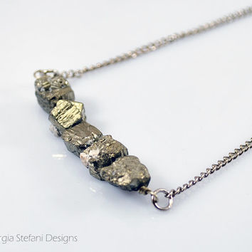 Long Raw Pyrite Bar Necklace. Bohemian Gemstone Necklace. Pyrite Bar Necklace.Raugh Pyrite Necklace Silver. Layered Necklace. Gold Gemstone.