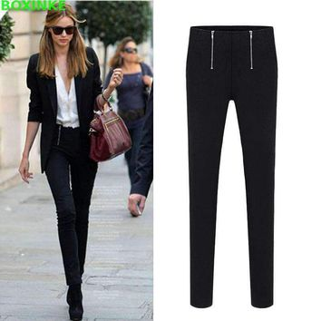 Womens Stretch Double Zipper Waist Slim Womens Leggings