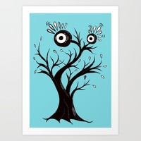 Excited Tree Monster Ink Drawing Art Print by borianagiormova