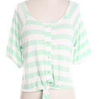 Gentle Souls Striped 3/4 Buttoned Sleeve Top in Soft Mint | Sincerely Sweet Boutique