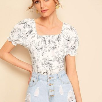 Ink Painting Print Puff Sleeve Shirred Top
