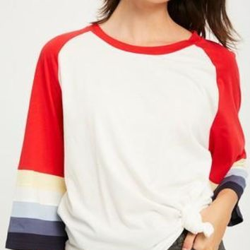 Color block 3/4 bell sleeves round neck tee