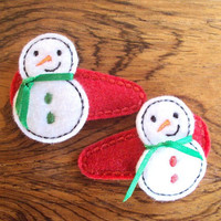 Felt Snap Hair Clip Barrette Snowman Set of Two