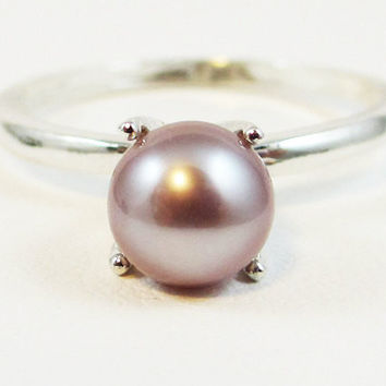 Pink Pearl Ring Solitaire, 925 Sterling Silver, June Birthstone Ring, Genuine Pearl Ring, Natural Pink Pearl Ring, 925 Ring, SS Ring
