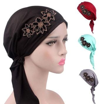 High Quality beanie Women Cancer Chemo Hat Beanie Scarf Turban Head Wrap Cap 8 Colors Applique Balaclava Womens Skullies