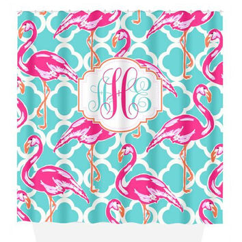 Flamingo SHOWER CURTAIN, Lily Flower, Hot Pink Turquoise, Dorm Custom MONOGRAM Personalized, Girl Sister Decor, Beach Towel, Plush Bath Mat