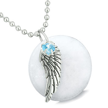 Angel Wing White Snowflake Quartz Medallion Sky Blue Crystals Heart Feather 22 Inch Pendant Necklace