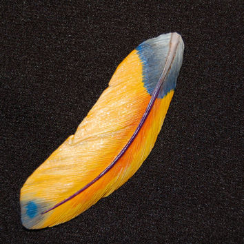 Larger wooden Macaw feather brooch handmade hand carved brooch feather gift wooden brooch wood carving bird gift gift for her gift idea wood