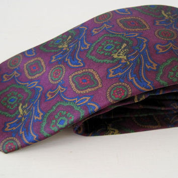YSL necktie vintage silk Yves Saint Laurent cravates purple floral tie gift for man