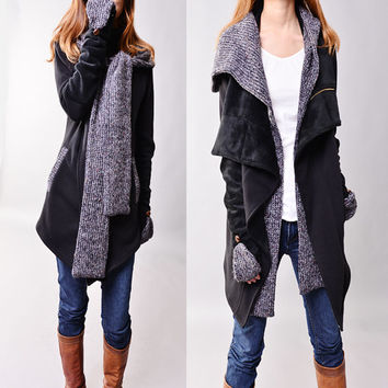 Tuareg - thick cotton fleece jacket and scarf set (Y1228)