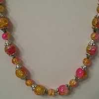 Gold  and Pink Cracked Glass Beaded Necklace 32