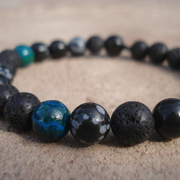 Lava Stone Bracelet with Snowflake Obsidian and Teal Dyed Quartzite, For Him