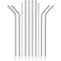 "Glass Straws Clear 9"" x 10 mm Drinking Straws Reusable Straws Healthy, Reusable, Eco Friendly, BPA Free, 4 Pack With Cleaning Brush"