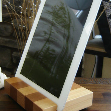 Wood iPad or Tablet Docking Station Stand in Reclaimed Cedar Butcher Block