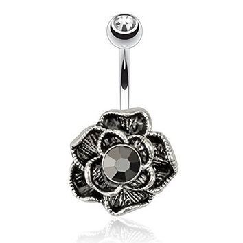 Black Flower Vintage Hematite with CZ Gem Navel Ring 316L Surgical Steel B479